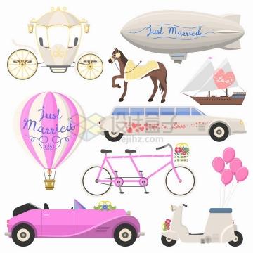 马车飞艇热气球粉色婚车等结婚用品png图片免抠矢量素材