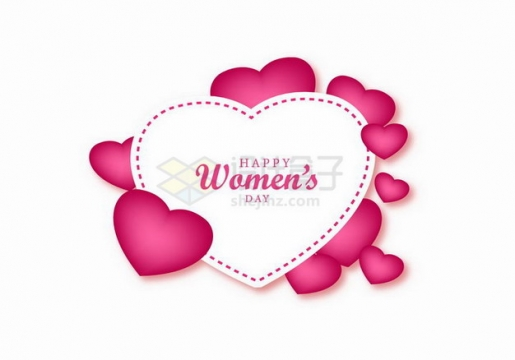 红心和心形文本框标题框三八妇女节png图片免抠矢量素材