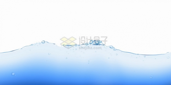 蓝色的水面液面效果冒着水泡水花png图片素材