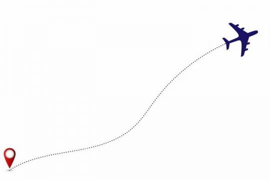 飞机图案和红色定位标志连接虚线飞行线路世界旅游图标png图片免抠矢量素材