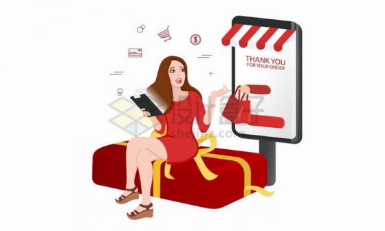 坐在礼物盒上用手机购物的红衣美女png图片免抠矢量素材