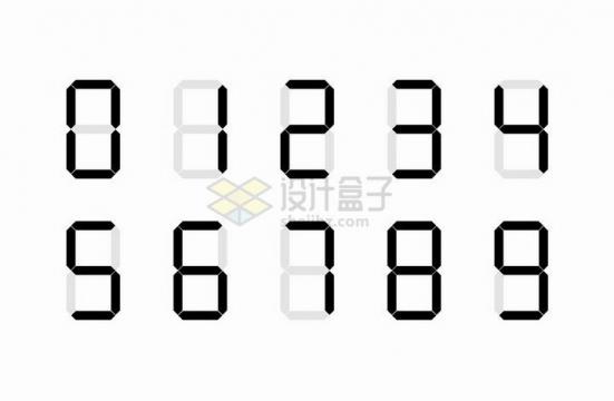 液晶显示的数字0-9png图片免抠矢量素材