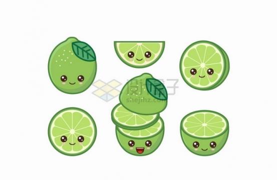 卡通青柠檬自带各种表情水果png图片免抠矢量素材