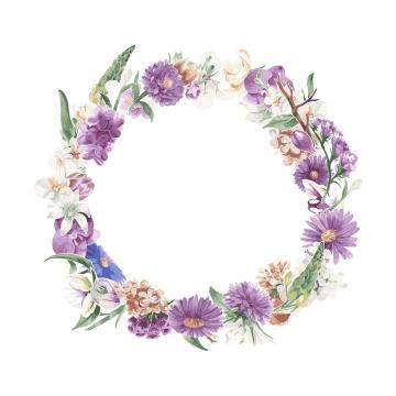 水彩画风格各种紫色白色花朵和叶子组成的花环图片免抠矢量素材