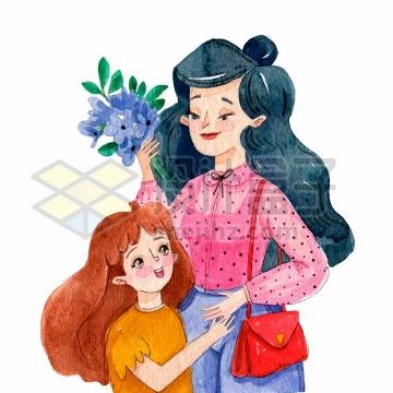 小女孩送给妈妈康乃馨鲜花母亲节水彩画插画png图片免抠矢量素材