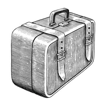 手绘黑色素描风格复古行李箱图片免抠矢量图素材