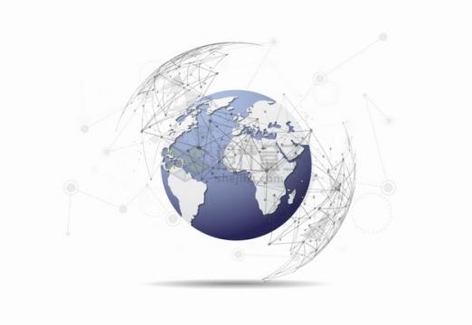 点线装饰包围着3D立体地球模型png图片素材