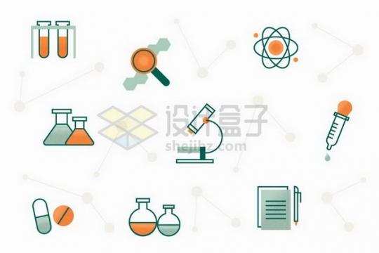 线条风格试管放大镜显微镜等科学图标png图片免抠矢量素材