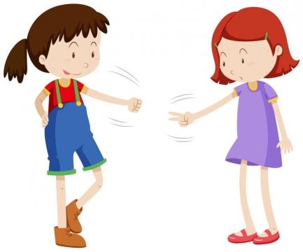 两个正在玩剪刀石头布游戏的小女孩图片免抠矢量素材