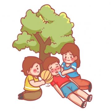 炎热夏天中暑热晕的路人躺在树下休息751927png图片素材