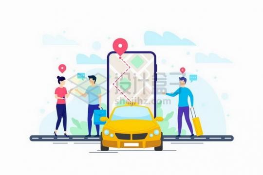 旅游实用手机打车软件叫出租车应用扁平插画png图片免抠矢量素材