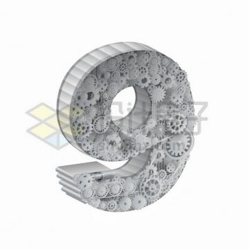 银白色齿轮促成的3D立体数字字体9png图片素材