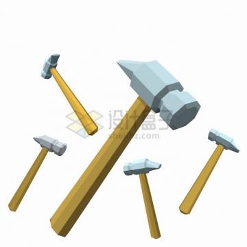 各种角度的3D立体锤子榔头png图片素材