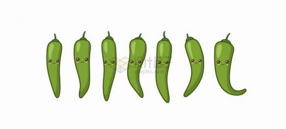 卡通青辣椒自带各种表情蔬菜png图片免抠矢量素材