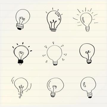 9款手绘线条涂鸦风格电灯泡图片免抠矢量素材