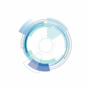 蓝色紫色扇形组成的科幻风格圆环图案png图片免抠矢量素材