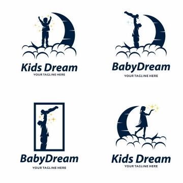 4款正在弯月上孩子的梦想亲子logo设计方案png图片免抠矢量素材