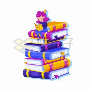 世界读书日卡通女孩坐在高高的书堆上看书png图片免抠矢量素材