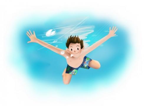 卡通男孩跳入水中潜水游泳606099png图片素材