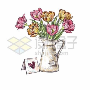 花瓶里的康乃馨鲜花母亲节彩绘素描插画png图片免抠矢量素材