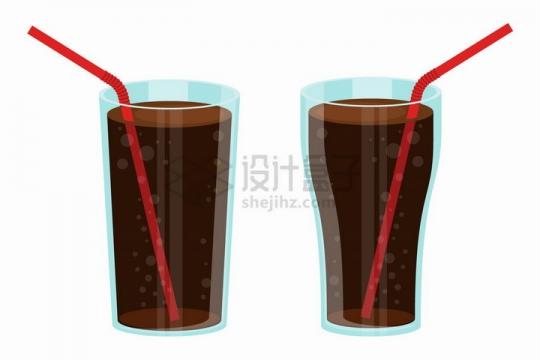玻璃杯中的可乐和吸管png图片免抠矢量素材