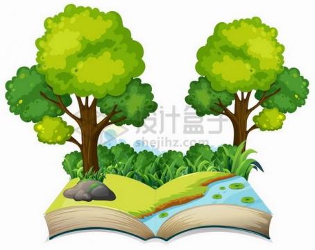 打开书本上的草地树林和小溪106855png矢量图片素材