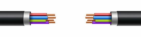 两根露出铜线结构的电线电缆解剖图png图片免抠eps矢量素材