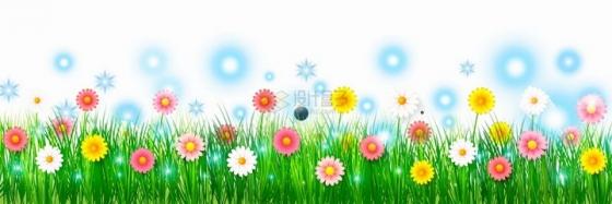 盛开了各种颜色雏菊花朵的青草丛和蓝色的发光装饰png图片免抠矢量素材