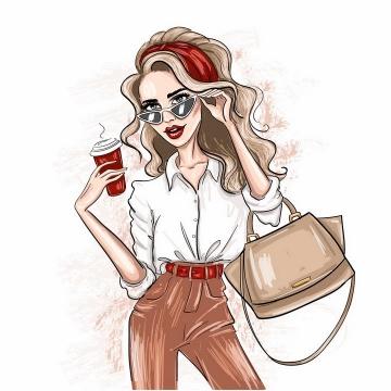 彩色素描风格拿着咖啡杯和挎包的金发美女人像绘画png图片免抠矢量素材