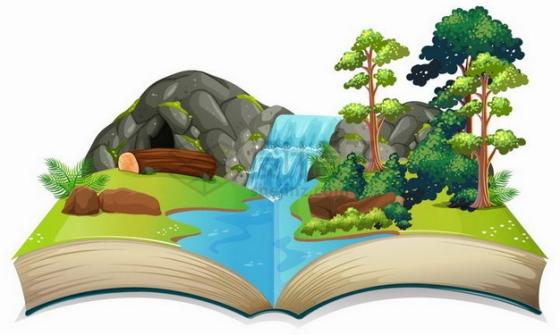 打开书本上的草地小溪河流树林和山洞101486png矢量图片素材
