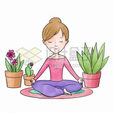 练习瑜伽盘腿静坐打坐放空思想冥想的女人手绘插画png图片素材