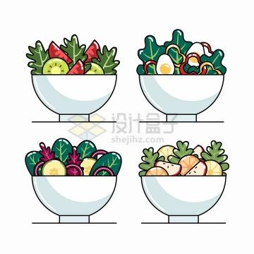 MBE风格4款水果蔬菜色拉美味美食png图片免抠矢量素材