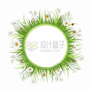 翠绿色青草和雏菊花朵狗尾巴草装饰的圆形文本框标题框png图片免抠矢量素材
