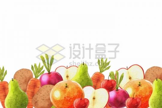 香梨石榴苹果胡萝卜土豆等美味水果蔬菜背景装饰png图片免抠矢量素材