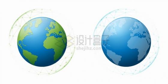 多边形网格中的蓝色和绿色地球模型png图片素材