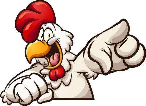 漫画风格正在取笑别人的卡通白色大公鸡图片免抠矢量图素材