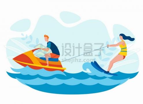 摩托艇冲浪海岛旅游手绘卡通插画png图片免抠矢量素材