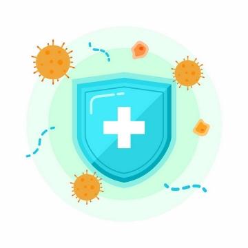 扁平化风格蓝色防护盾牌和病毒png图片免抠矢量素材