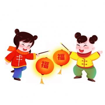 新年春节过年玩耍的卡通男孩女孩打着福字灯笼596751png图片素材