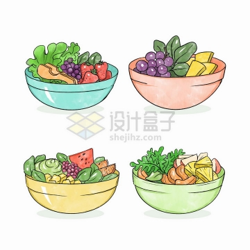 4款水果拼盘蔬菜色拉彩绘美味美食png图片免抠矢量素材