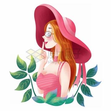 彩绘风格绿叶装饰戴着遮阳帽的美女三八女人节png图片免抠素材