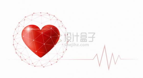 红色多边形网格中的红心和心电图心形图案png图片素材