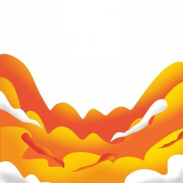 中国风橙色祥云装饰图案319824图片素材