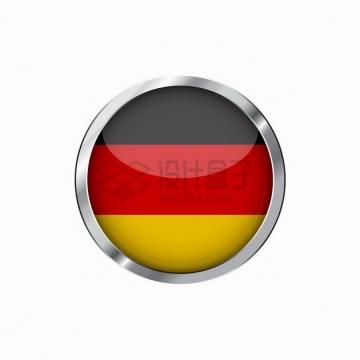 银色金属光泽边框德国国旗图案圆形按钮png图片素材