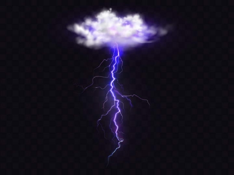 白色云朵紫色闪电矢量图图片免抠素材