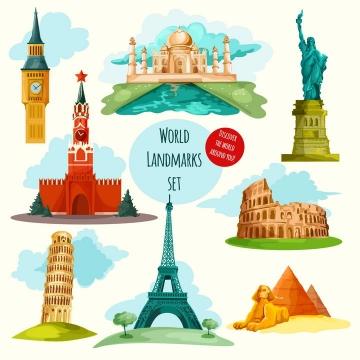 卡通漫画风格伦敦大本钟印度泰姬陵纽约自由女神像古罗马斗兽场埃及金字塔等世界知名旅游景点图片免抠矢量素材