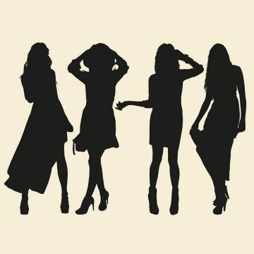 四个不同风格的女性美女剪影免扣图片素材