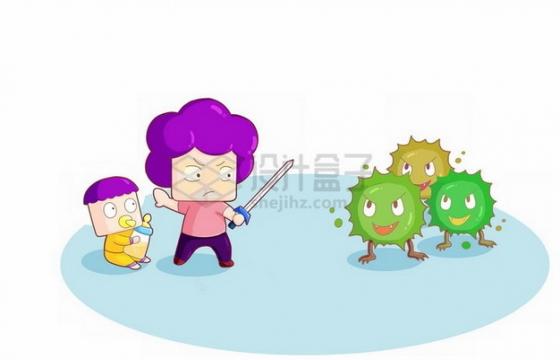 卡通妈妈拿着宝剑对开病毒保护宝宝png图片素材