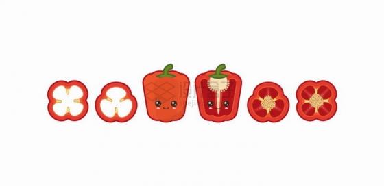 卡通红色灯笼椒自带各种表情蔬菜png图片免抠矢量素材