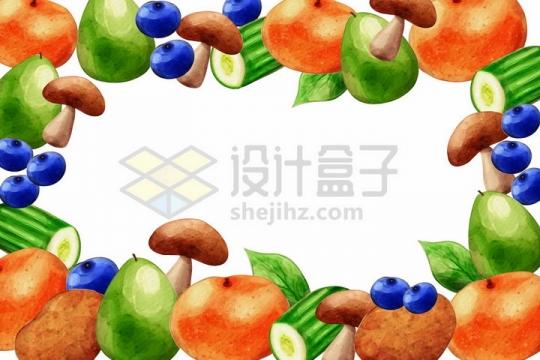 香菇牛油果黄瓜土豆蓝莓等美味水果蔬菜背景装饰png图片免抠矢量素材